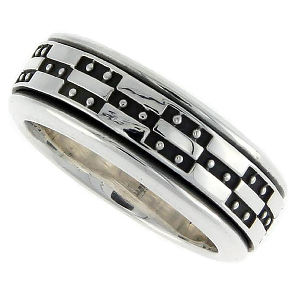 Sterling Silver Mens Spinner Ring Geometric Design Handmade 3/8 inch wide,