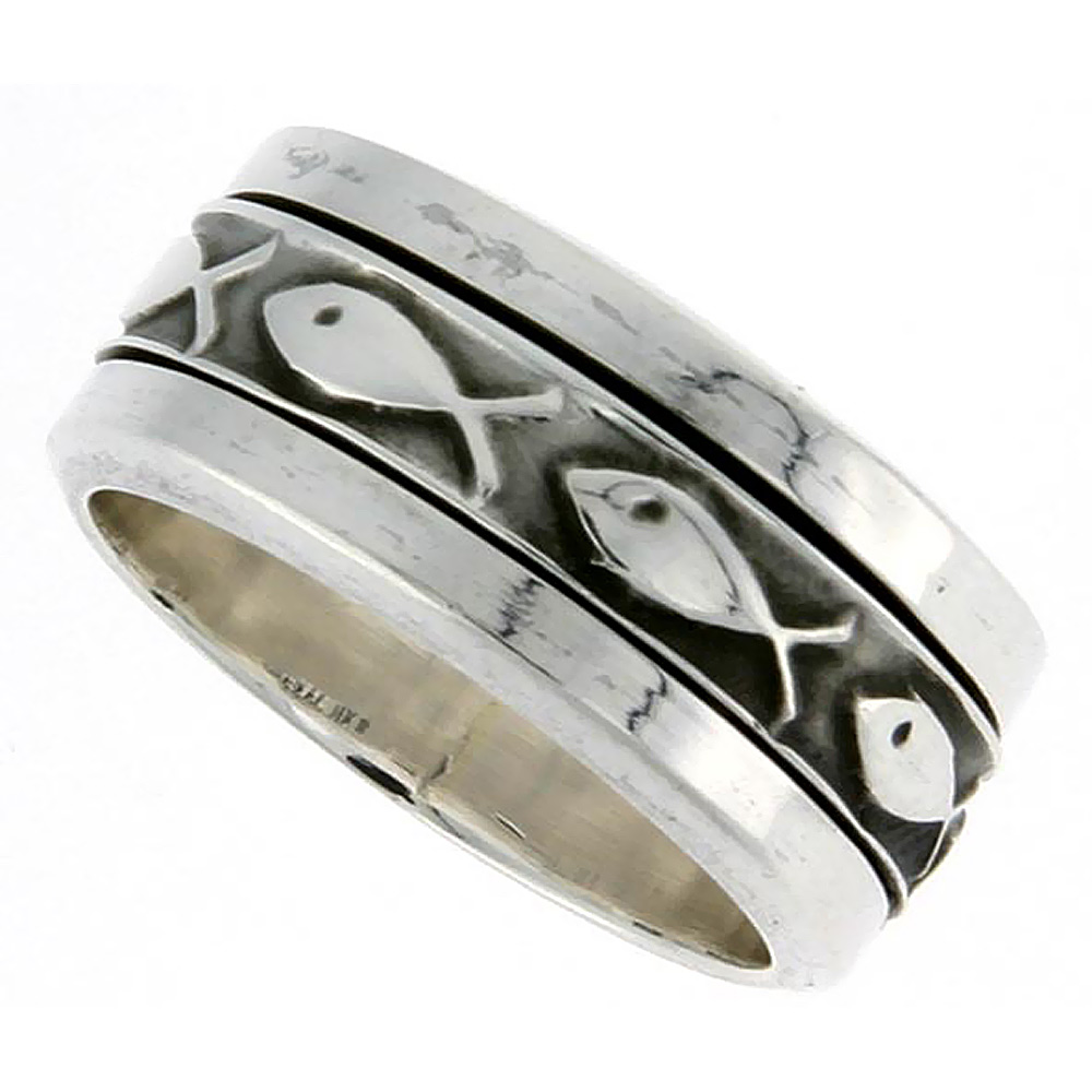 Sterling Silver Ichthys Spinner Ring Christian Fish Design Handmade 3/8 inch wide, size 8 - 14