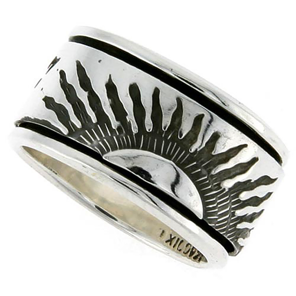 Sterling Silver Mens Spinner Ring Sun Rays Design Handmade 1/2 inch wide,