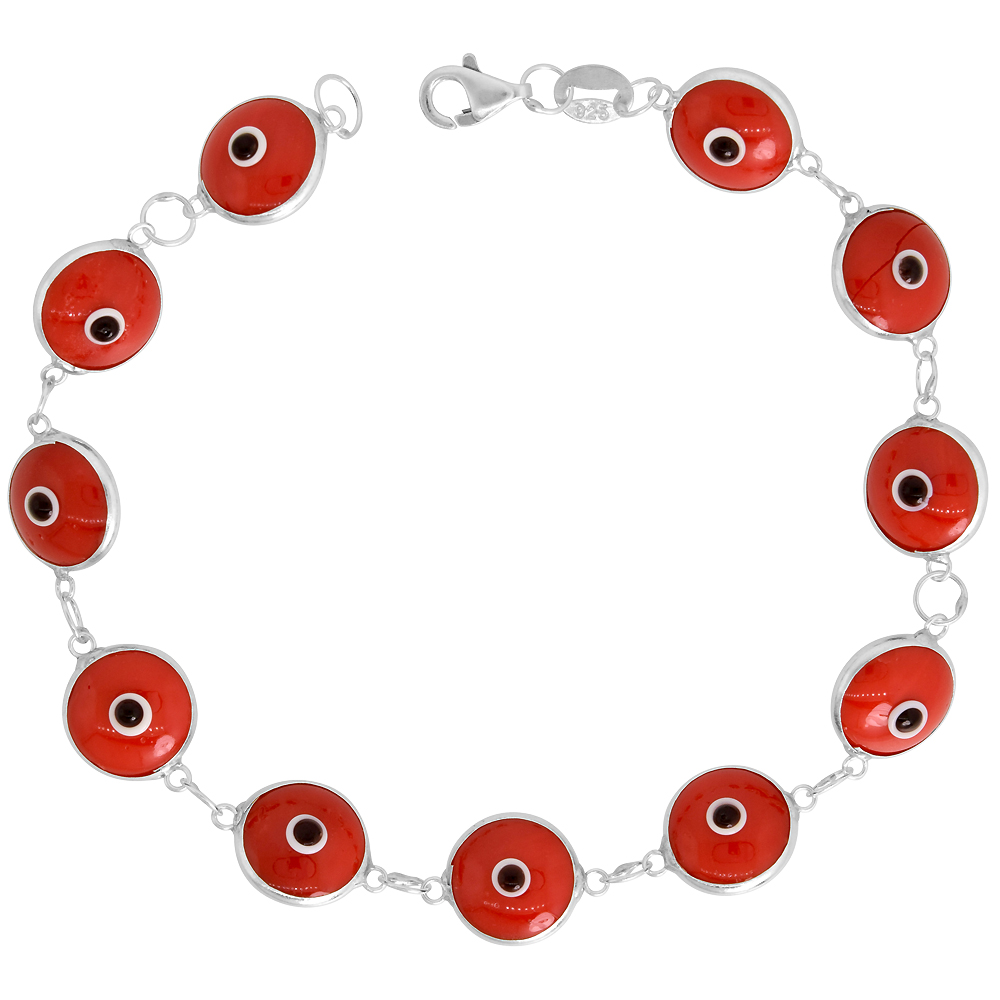 Sterling Silver Evil Eye Bracelet Red, 7 inch