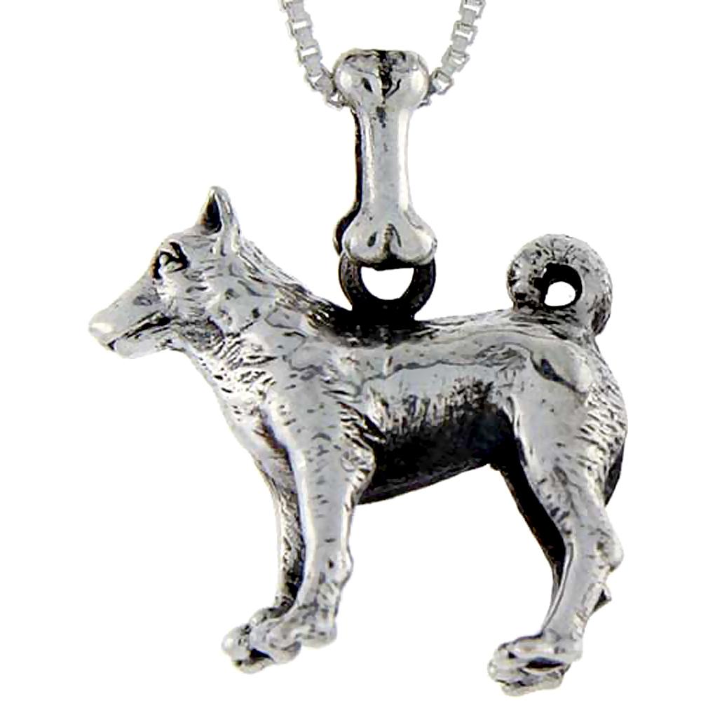 Sterling Silver Norwegian Elkhound Dog Pendant ?