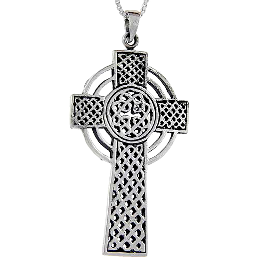 Sterling Silver Celtic High Cross Pendant, 1 7/8 inch long