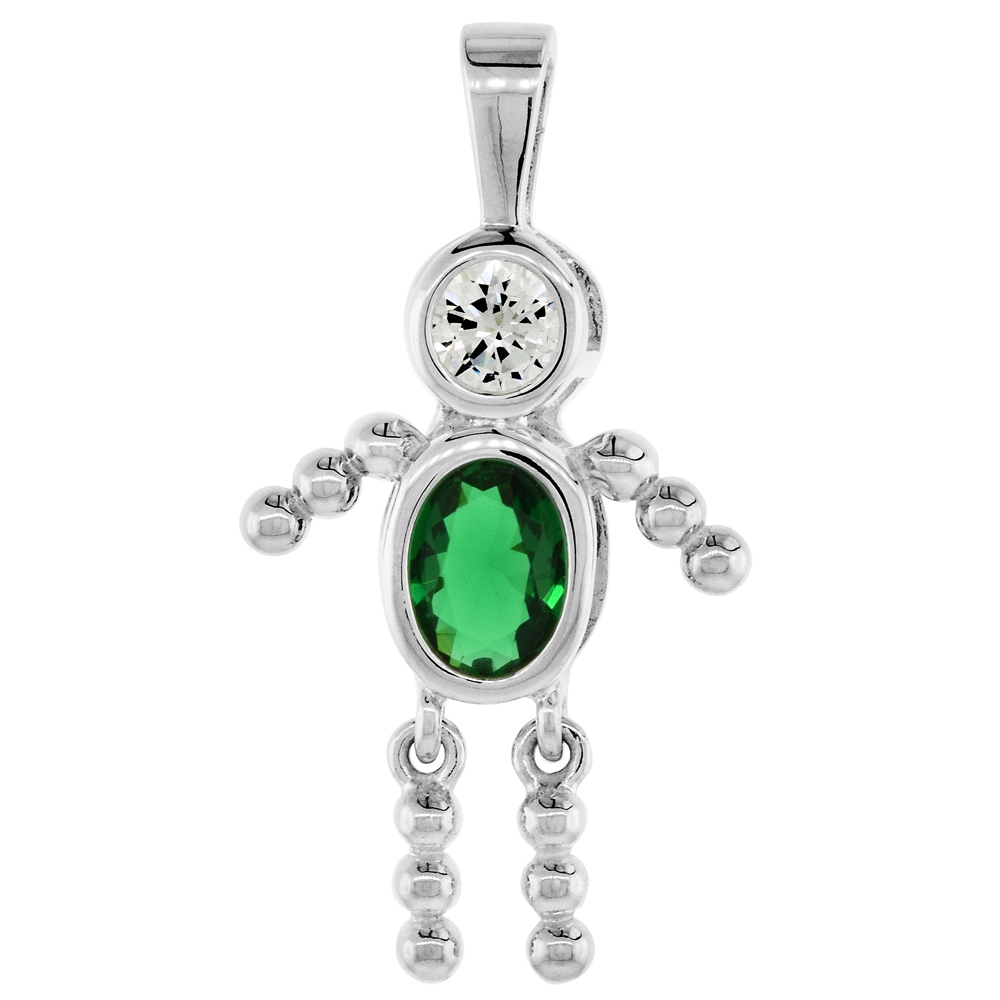 Sabrina Silver Sterling Silver May Birthstone Baby Brat Boy Pendant w/ Emerald Color Cubic Zirconia at Sears.com