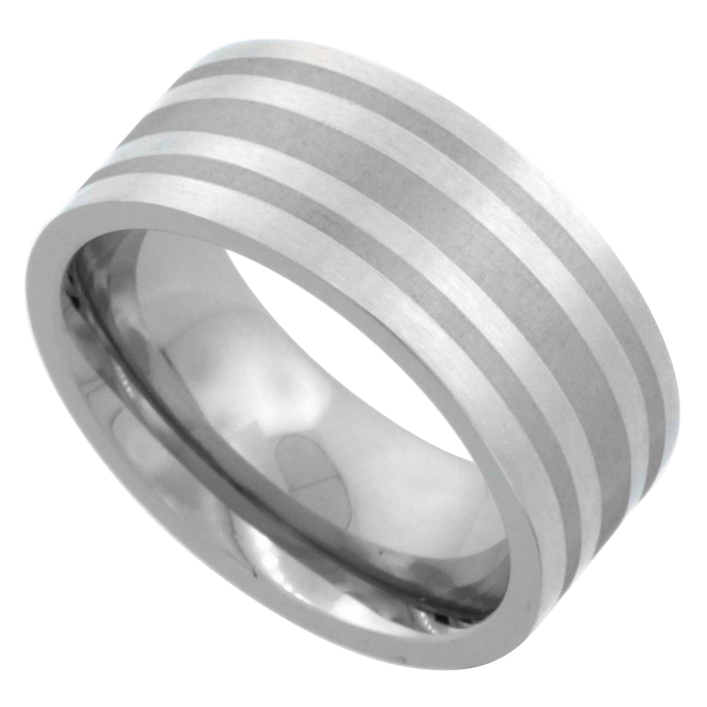 Surgical Stainless Steel 9mm Wedding Band Ring 3 Stripes Comfort-Fit, sizes 7 - 14