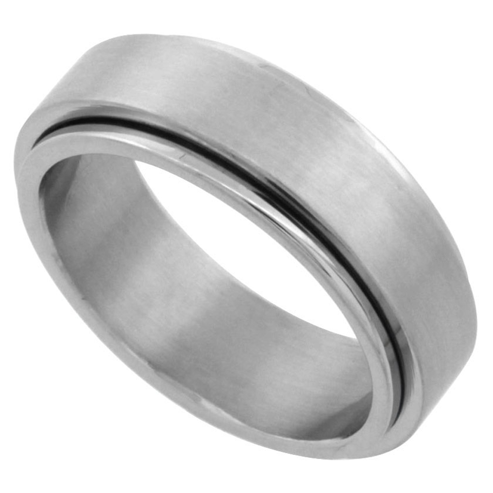 Surgical Stainless Steel 7mm Spinner Ring Wedding Band Matte Finish, sizes 7 - 14