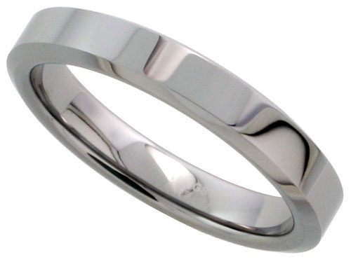 Tungsten Carbide 4 mm Flat Wedding Band Thumb Ring His Hers Mirror