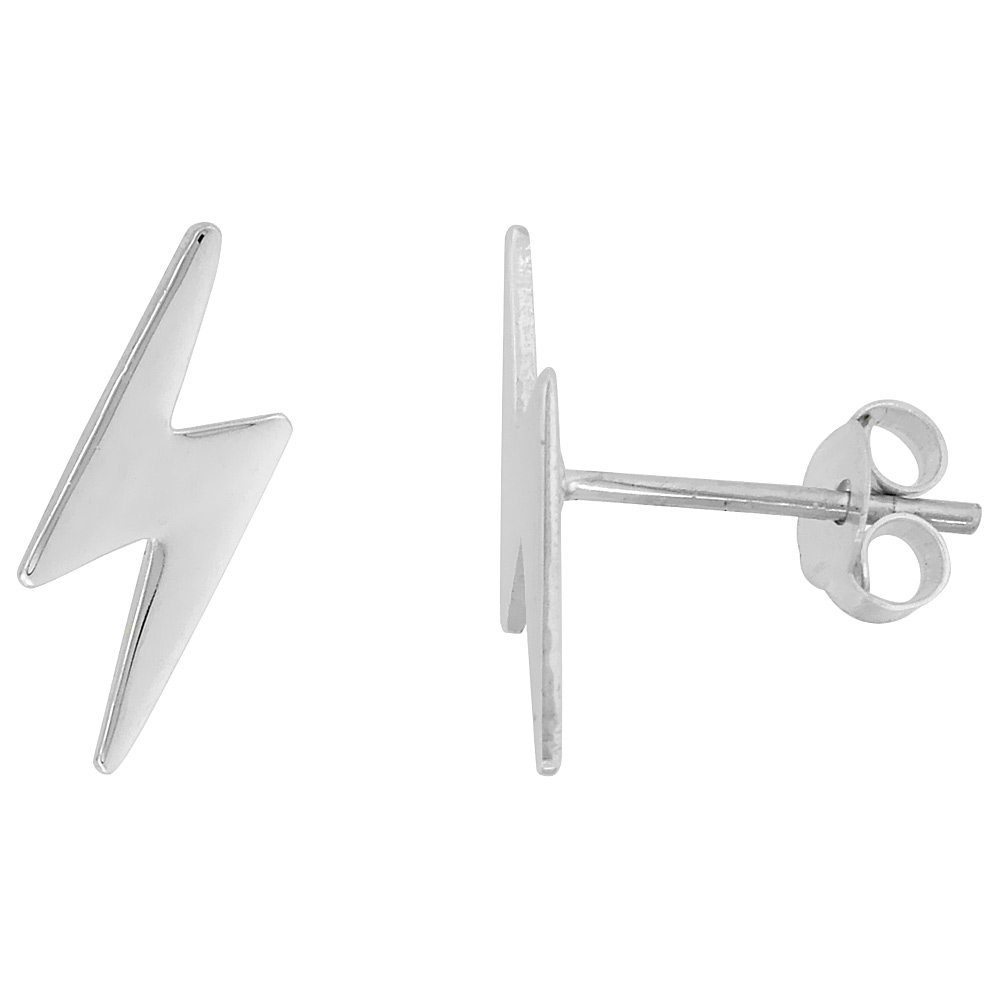 is sterling inch lightning tiny stud image loading earrings itm silver bolt