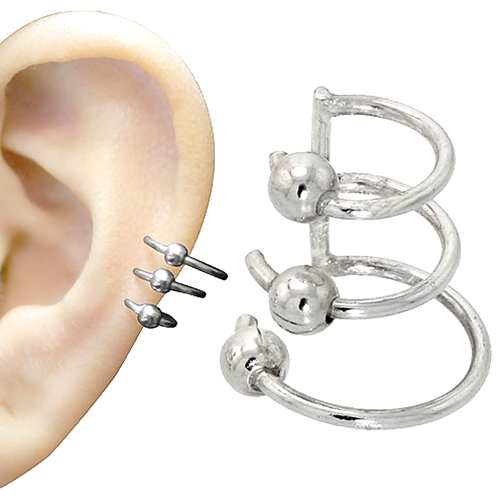 Image Is Loading Sterling Silver Cartilage Hoop Earrings W Beads Non