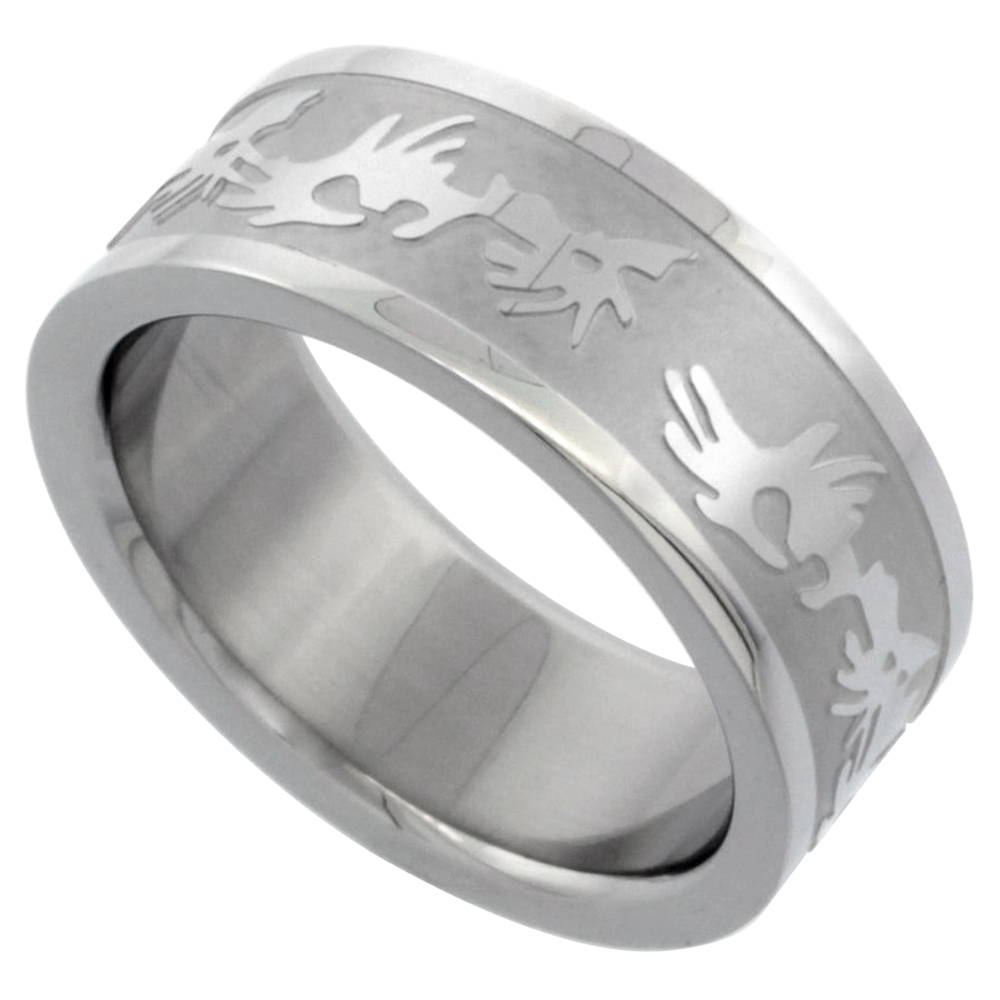 Surgical Steel 8mm Tribal Design Ring Wedding Band Sizes 7 14