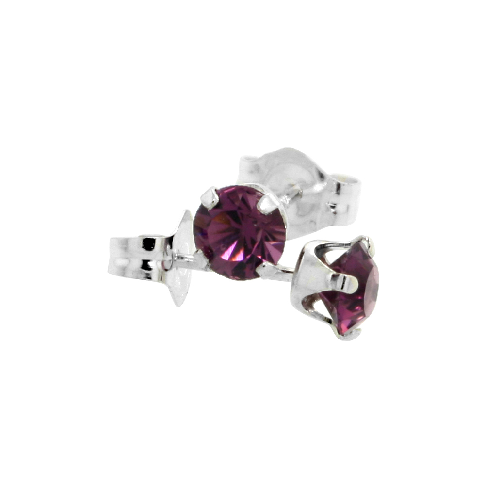 Sterling Silver 4mm Round Amethyst Color Crystal Stud Earrings February Birthstones with Swarovski Crystals 1/2 ct total