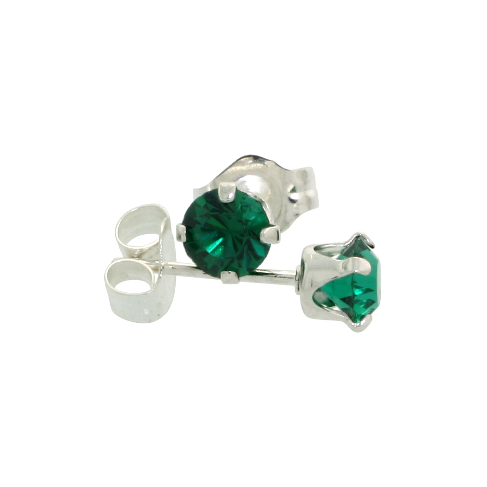 Sterling Silver 4mm Round Emerald Color Crystal Stud Earrings May Birthstones with Swarovski Crystals 1/2 ct total
