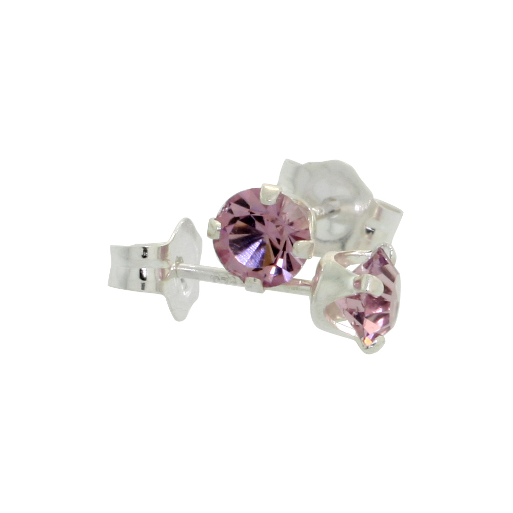 Sterling Silver 4mm Round Alexandrite Color Crystal Stud Earrings June Birthstones with Swarovski Crystals 1/2 ct total