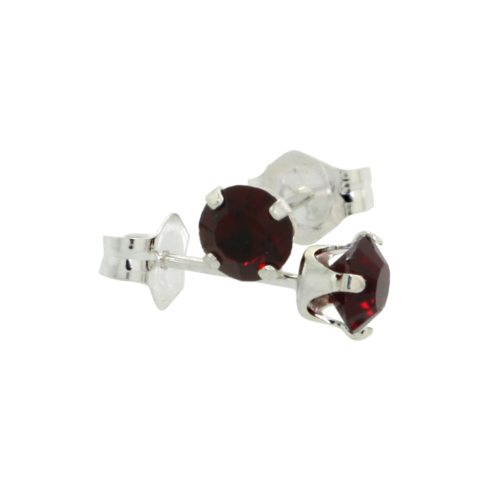 Sterling Silver 4mm Round Ruby Color Crystal Stud Earrings July Birthstones with Swarovski Crystals 1/2 ct total