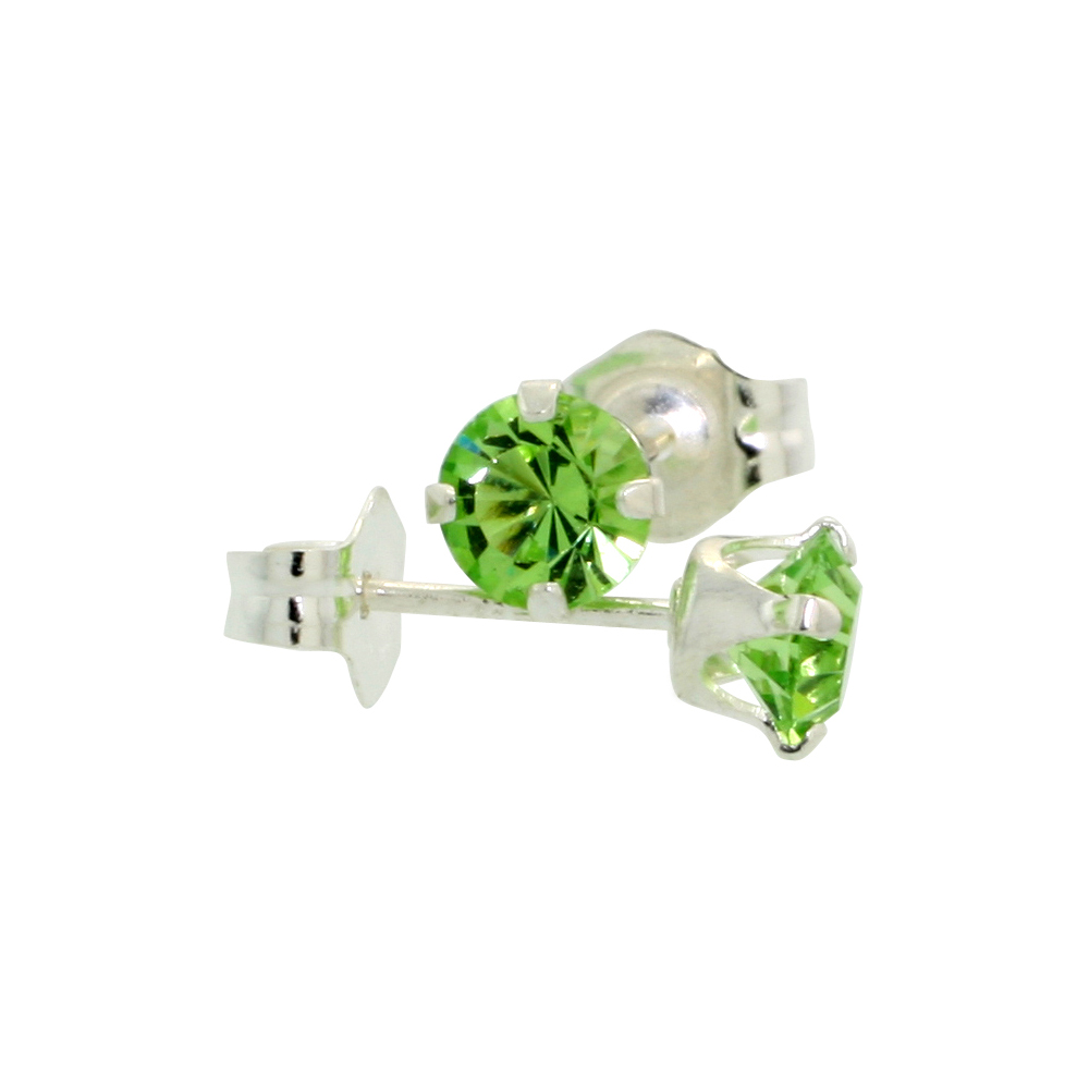 Sterling Silver 4mm Round Peridot Color Crystal Stud Earrings August Birthstones with Swarovski Crystals 1/2 ct total
