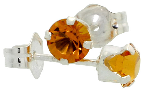 Sterling Silver 4mm Round Citrine Color Crystal Stud Earrings November Birthstones with Swarovski Crystals 1/2 ct total