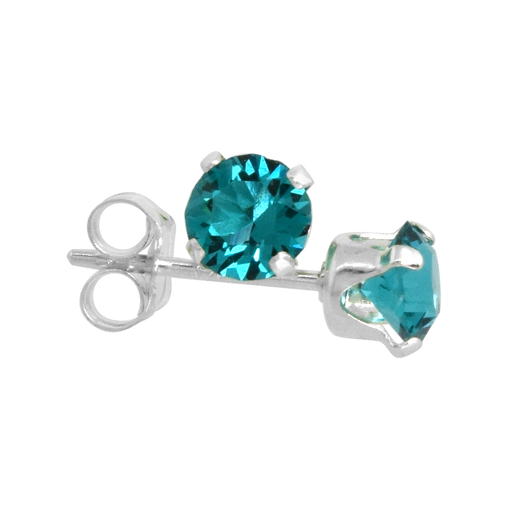 Sterling Silver 4mm Round Blue Topaz Color Crystal Stud Earrings December Birthstones with Swarovski Crystals 1/2 ct total