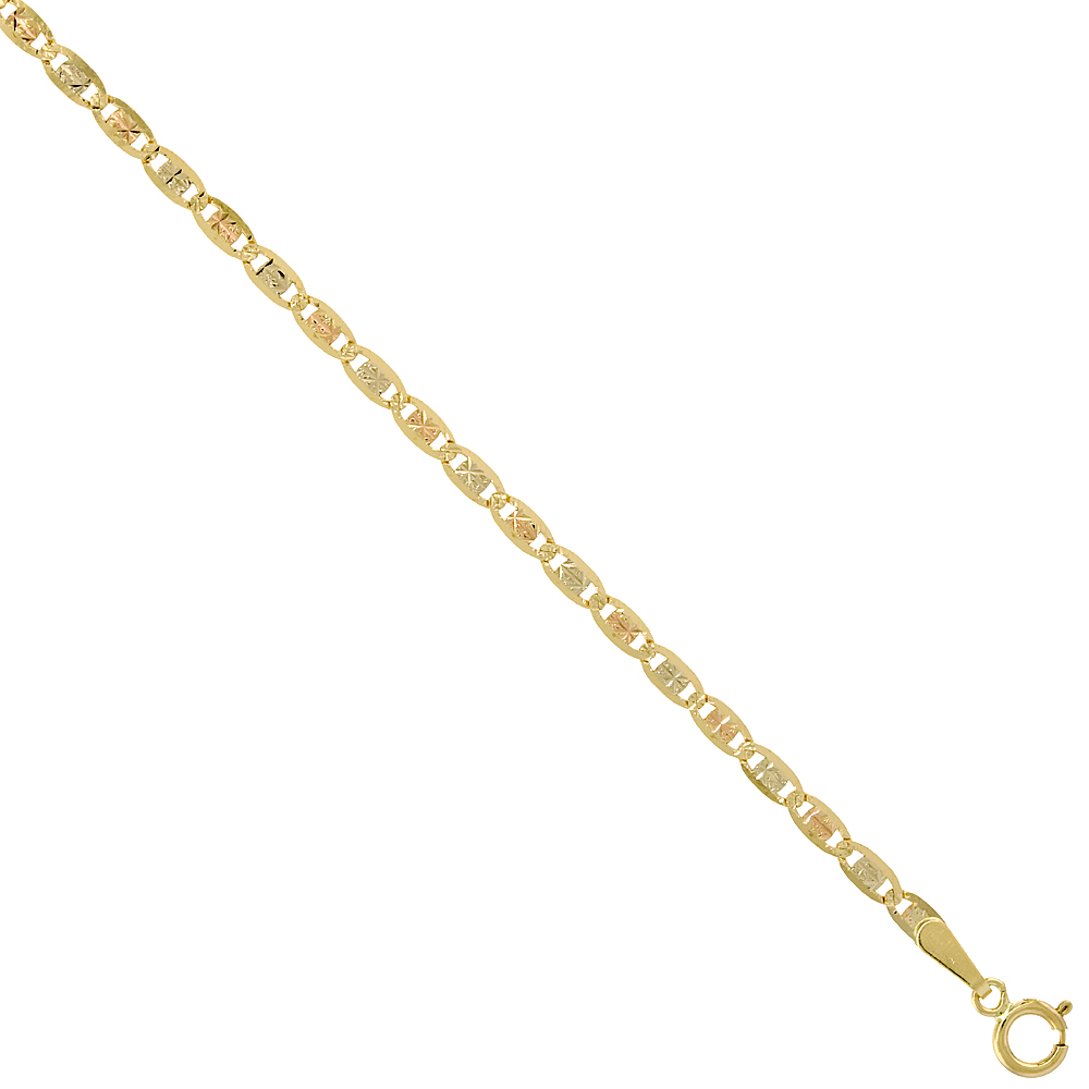 10K Solid Yellow Gold VALENTINO Chain Necklaces Tri-color Diamond cut 2.1 - 2.8 mm Nickel Free, 16 - 24 inches long