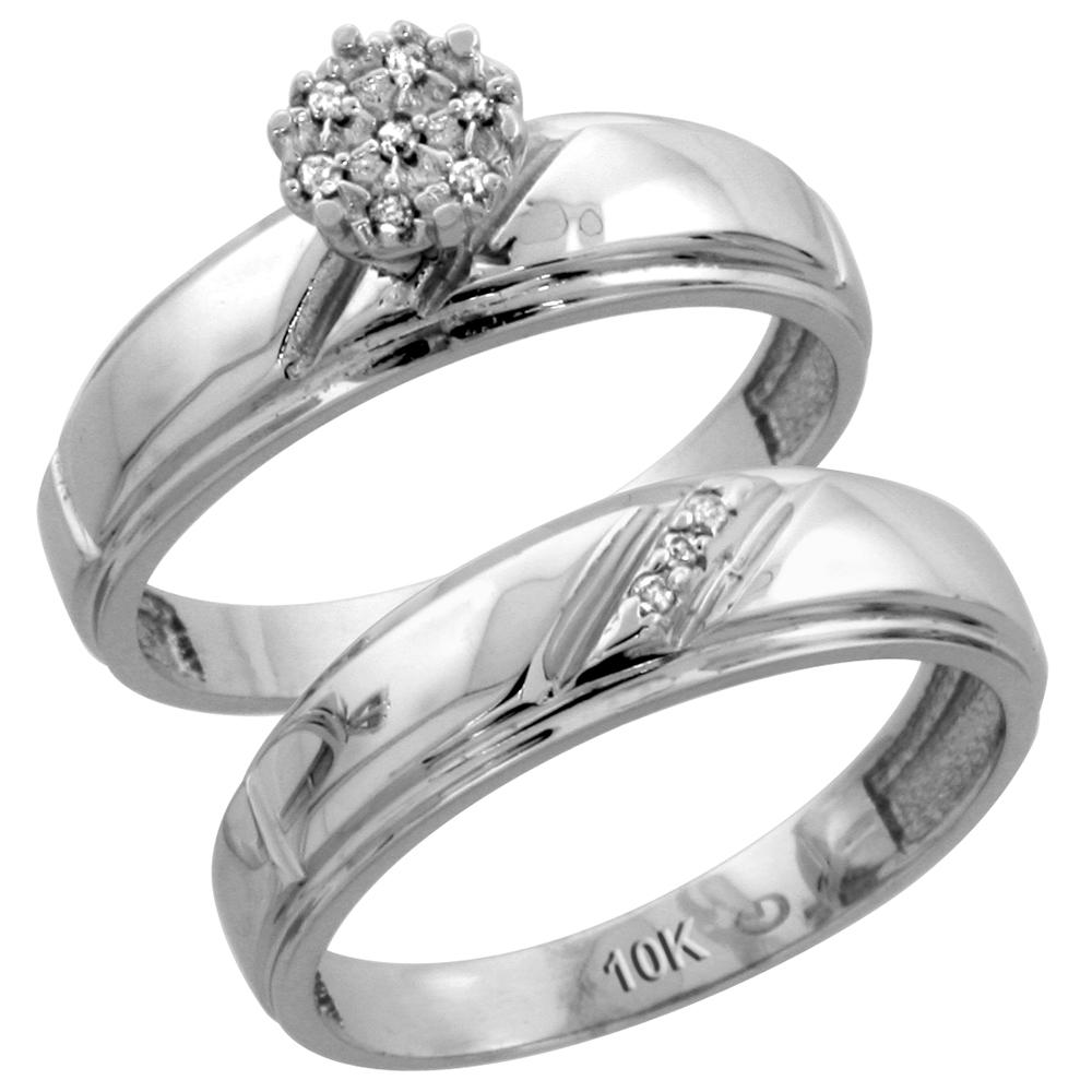 10k White Gold Diamond Engagement Ring Set 2-Piece 0.06 cttw Brilliant Cut, 7/32 inch 5.5mm wide