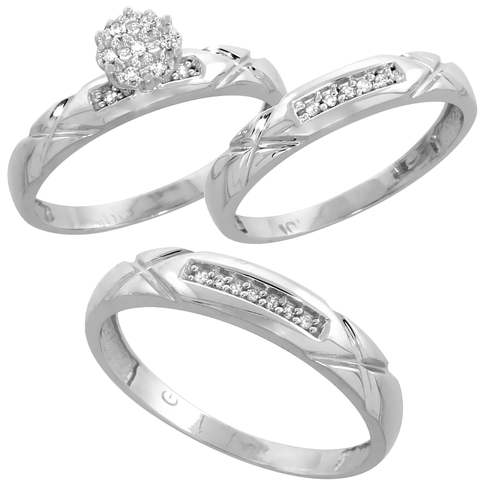 10k White Gold Diamond Engagement Ring Women 0.06 cttw Brilliant Cut 1/8 inch 3.5mm wide