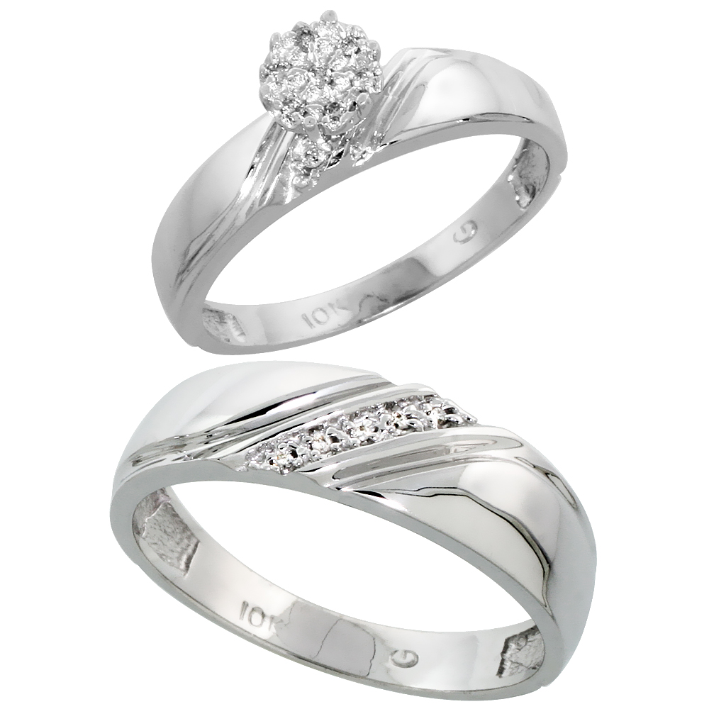 10k White Gold Diamond Engagement Rings Set for Men and Women 2-Piece 0.08 cttw Brilliant Cut, 4.5mm & 6mm wide