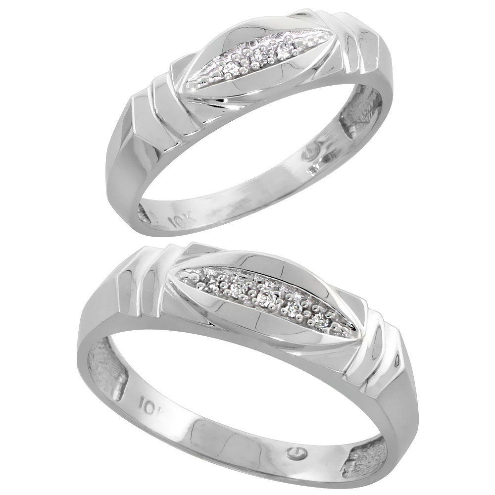 10k White Gold Diamond Wedding Rings Set for him 6 mm and her 5 mm 2-Piece 0.05 cttw Brilliant Cut, ladies sizes 5 � 10, mens si