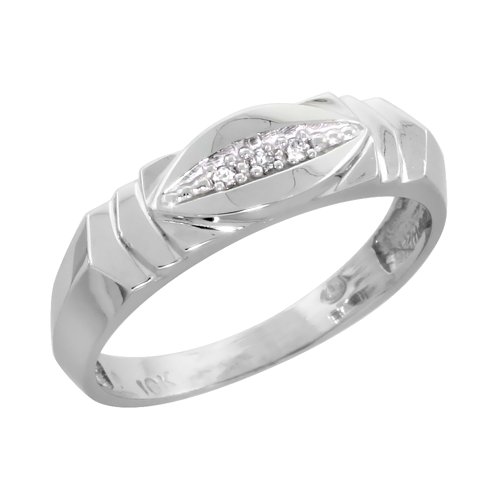 10k White Gold Mens Diamond Wedding Band, 1/4 inch wide