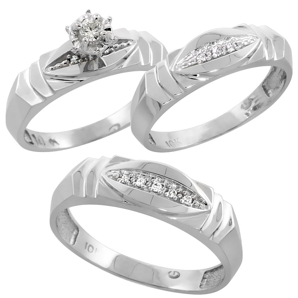 10k White Gold Diamond Trio Wedding Ring Set 3-piece His & Hers 6 & 5mm, Men's Size 8 to 14