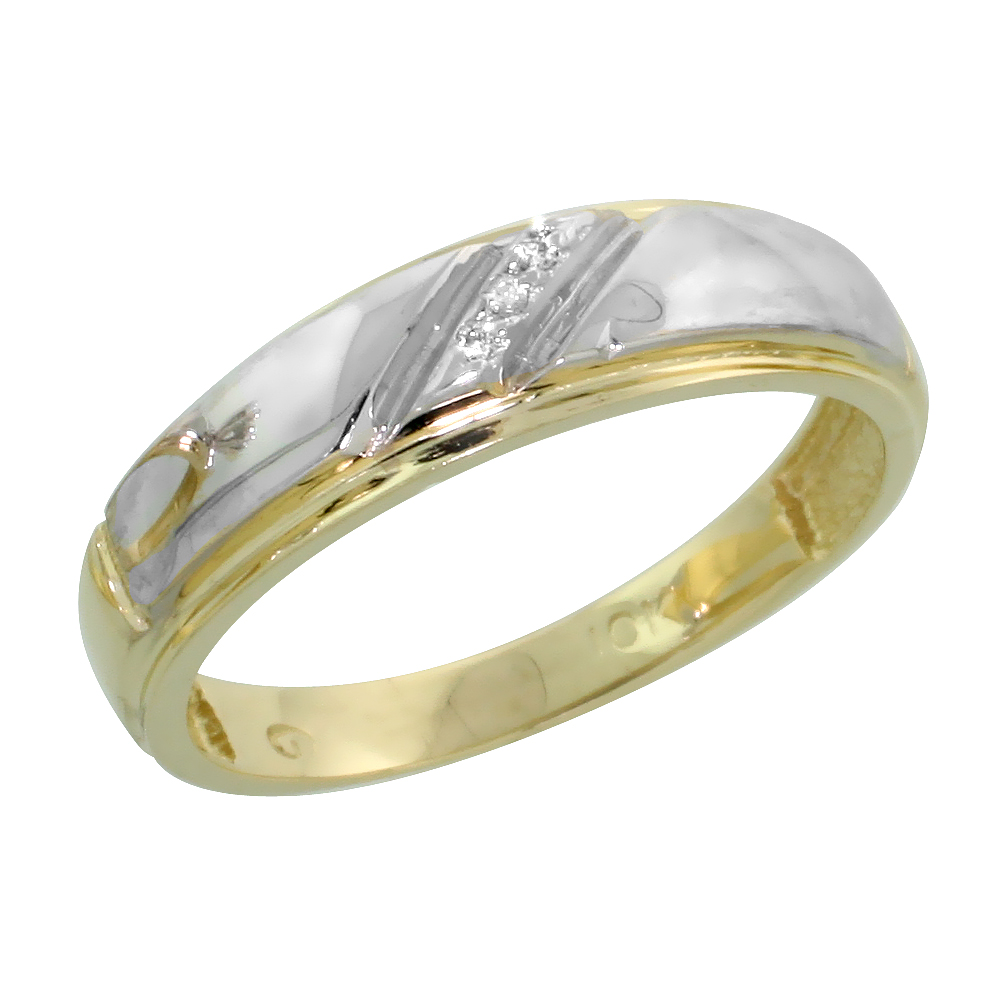 10k Yellow Gold Ladies Diamond Wedding Band Ring 0.02 cttw Brilliant Cut, 7/32 inch 5.5mm wide