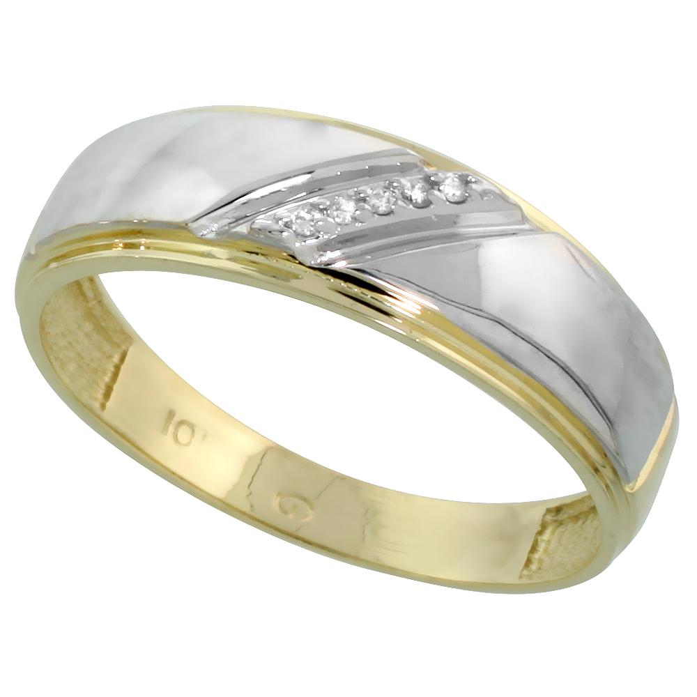 10k Yellow Gold Mens Diamond Wedding Band Ring 0.03 cttw Brilliant Cut, 1/4 inch 7mm wide