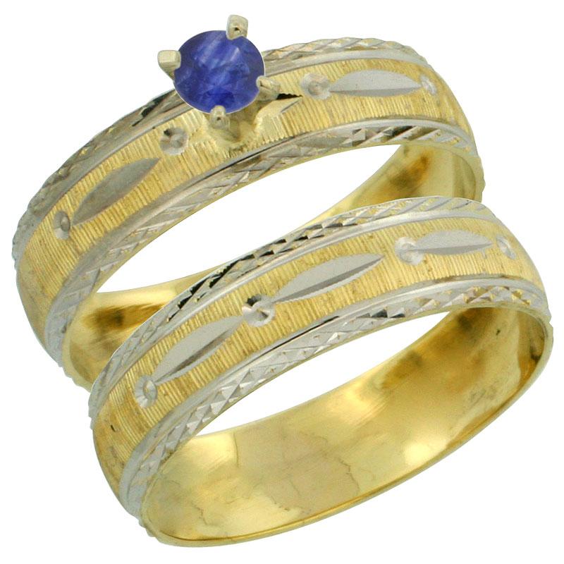 10k Gold Ladies' 2-Piece 0.25 Carat Deep Blue Sapphire Engagement Ring Set Diamond-cut Pattern Rhodium Accent, 3/16 in. (4.5mm)