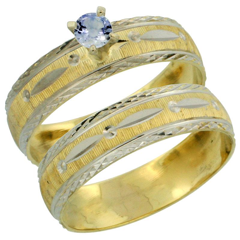 10k Gold Ladies' 2-Piece 0.25 Carat Light Blue Sapphire Engagement Ring Set Diamond-cut Pattern Rhodium Accent, 3/16 in. (4.5mm)