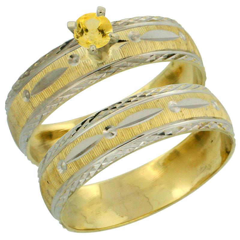 10k Gold Ladies' 2-Piece 0.25 Carat Yellow Sapphire Engagement Ring Set Diamond-cut Pattern Rhodium Accent, 3/16 in. (4.5mm) wid