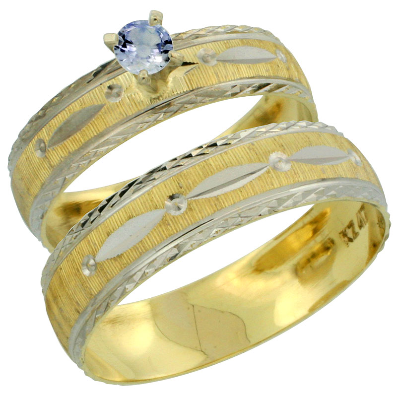 10k Gold 2-Piece 0.25 Carat Light Blue Sapphire Ring Set (Engagement Ring & Man's Wedding Band) Diamond-cut Pattern Rhodium Acce