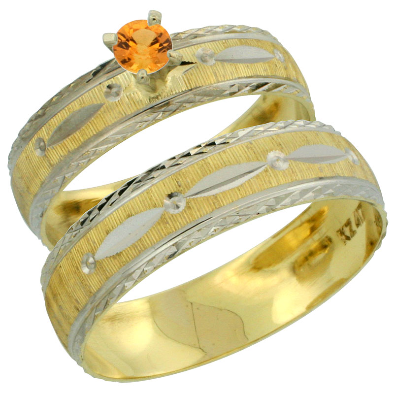 10k Gold 2-Piece 0.25 Carat Orange Sapphire Ring Set (Engagement Ring & Man's Wedding Band) Diamond-cut Pattern Rhodium Accent,