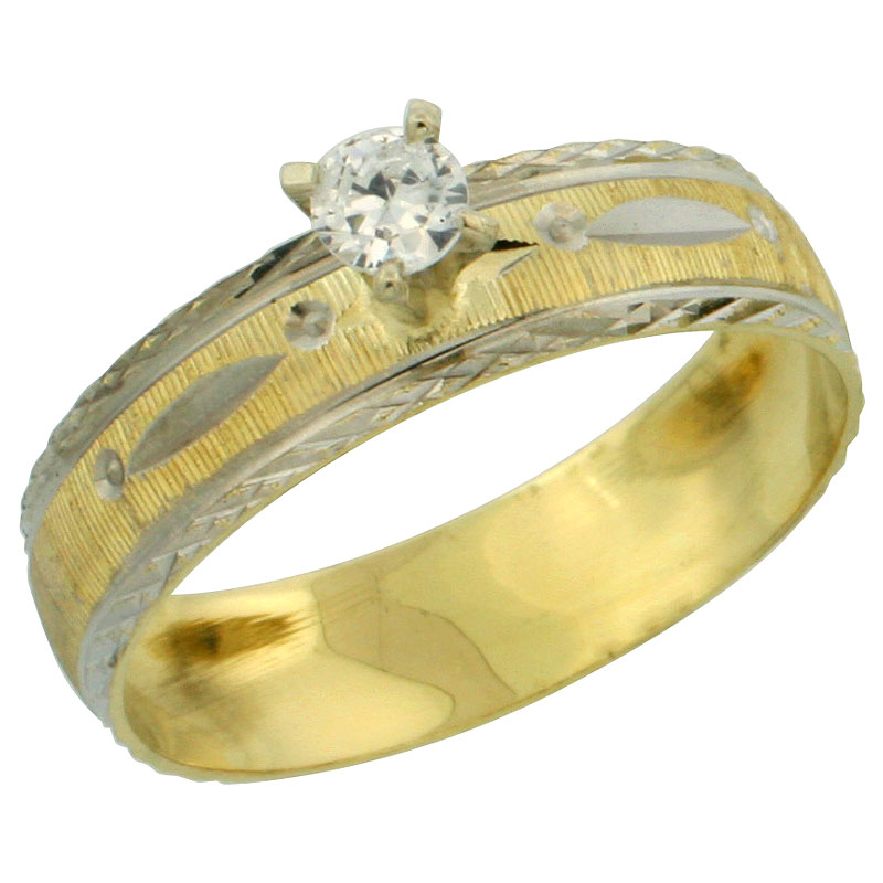 10k Gold Ladies' Solitaire 0.25 Carat White Sapphire Engagement Ring Diamond-cut Pattern Rhodium Accent, 3/16 in. (4.5mm) wide,