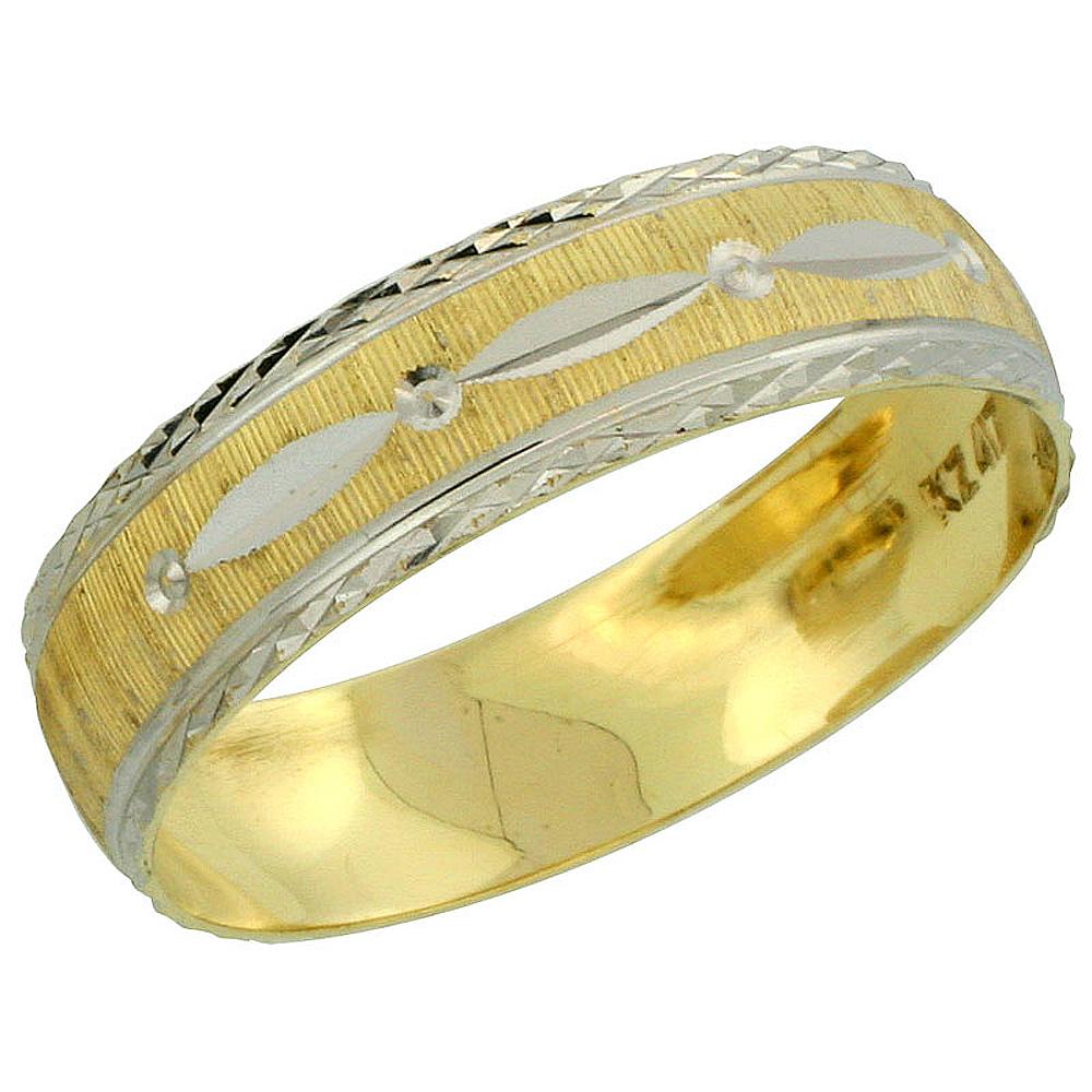 10k Gold Men's Wedding Band Ring Diamond-cut Pattern Rhodium Accent, 7/32 in. (5.5mm) wide, Sizes 8 - 14