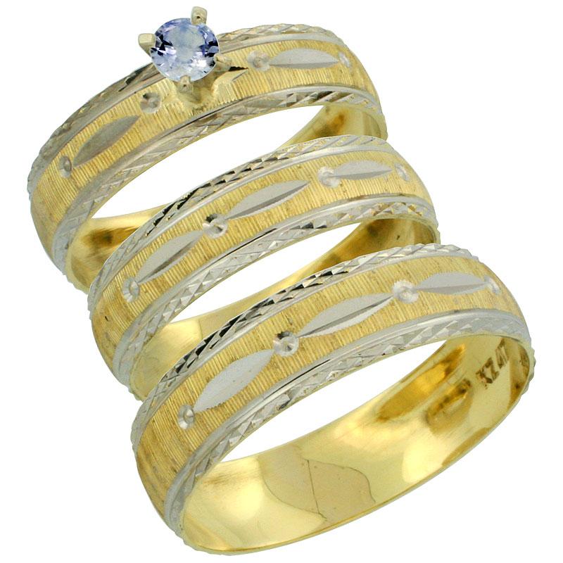 10k Gold 3-Piece Trio Light Blue Sapphire Wedding Ring Set Him & Her 0.10 ct Rhodium Accent Diamond-cut Pattern, Ladies Sizes 5