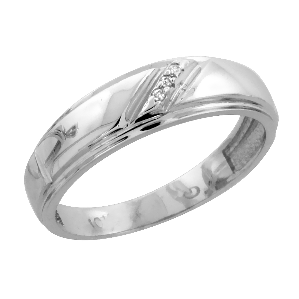 10k White Gold Ladies Diamond Wedding Band Ring 0.02 cttw Brilliant Cut, 7/32 inch 5.5mm wide