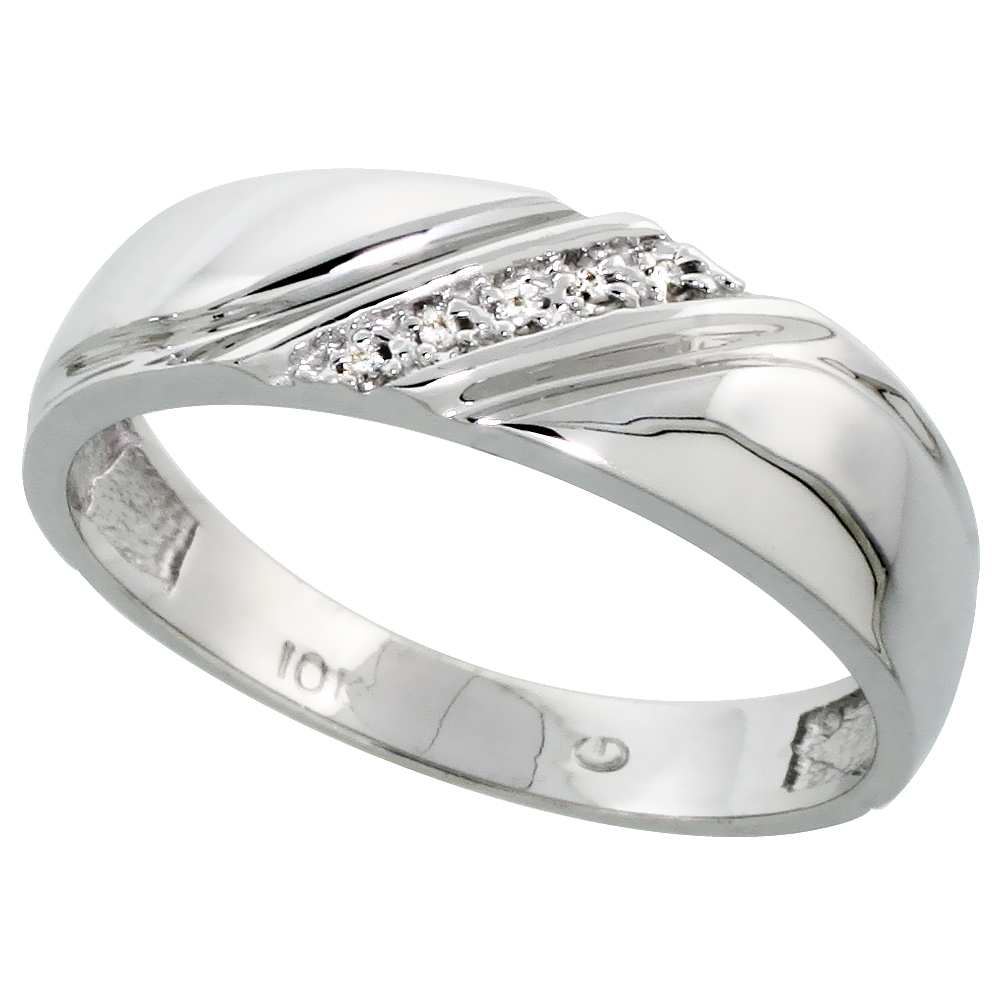 10k White Gold Mens Diamond Wedding Band Ring 0.03 cttw Brilliant Cut, 1/4 inch 6mm wide