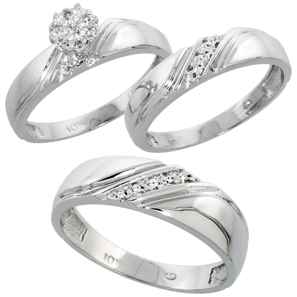 10k White Gold Diamond Trio Wedding Ring Set 3-piece His & Hers 6 & 4.5 mm 0.10 cttw, sizes 5  14