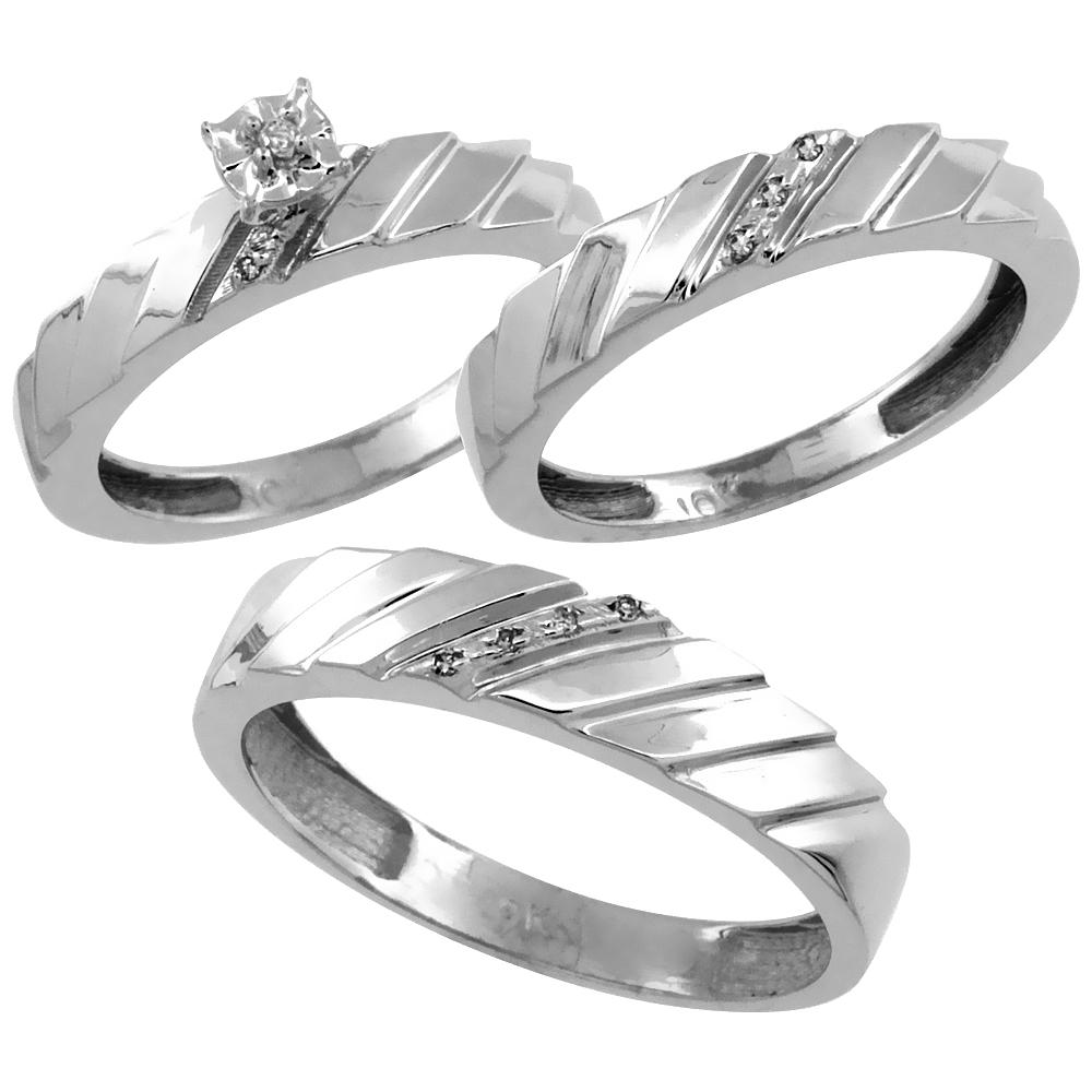 10k White Gold 3-Pc. Trio His (5mm) & Hers (4mm) Diamond Wedding Ring Band Set, w/ 0.075 Carat Brilliant Cut Diamonds (Ladies' Sizes 5-10; Men's Sizes 8 to 14)