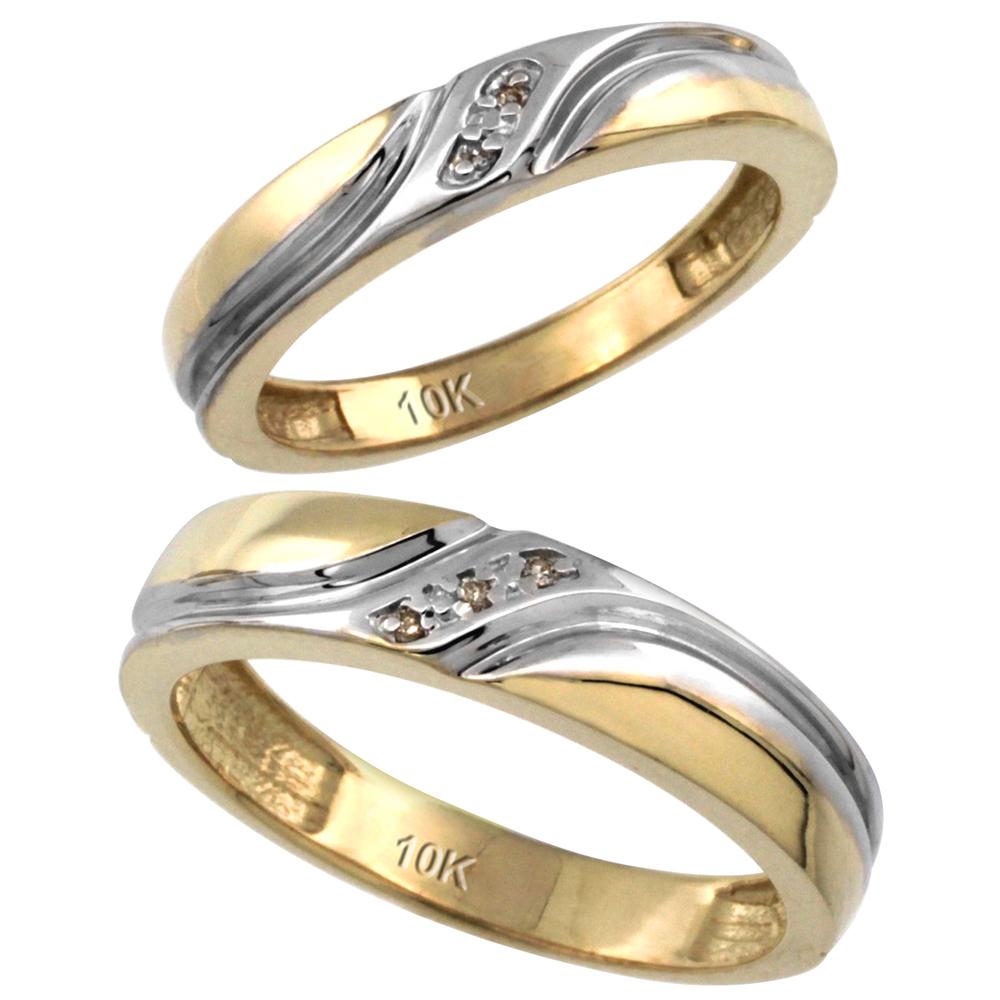 14k Gold 2-Pc His (5mm) & Hers (4mm) Diamond Wedding Ring Band Set w/ 0.032 Carat Brilliant Cut Diamonds (Ladies' Sizes 5 to 10; Men's Sizes 8 to 14)