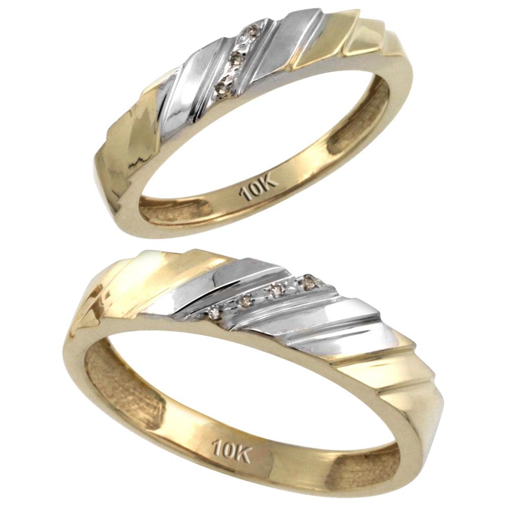 14k Gold 2-Pc His (5mm) & Hers (4mm) Diamond Wedding Ring Band Set w/ 0.045 Carat Brilliant Cut Diamonds (Ladies' Sizes 5 to 10; Men's Sizes 8 to 14)
