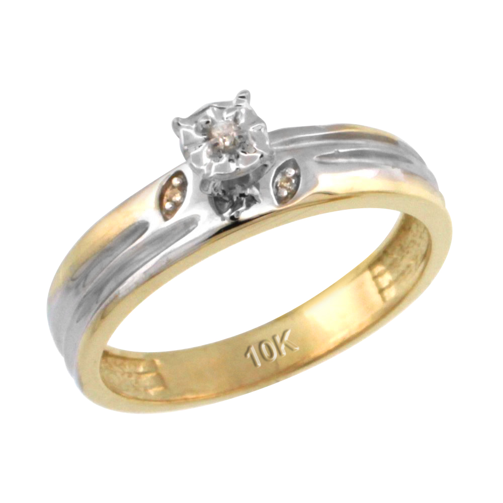 14k Gold Diamond Engagement Ring w/ 0.03 Carat Brilliant Cut Diamonds, 5/32 in. (4.5mm) wide