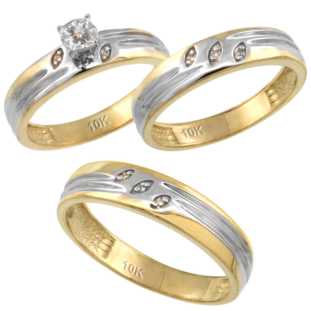 14k Gold 3-Pc. Trio His (5mm) & Hers (4.5mm) Diamond Wedding Ring Band Set, w/ 0.075 Carat Brilliant Cut Diamonds (Ladies' Sizes 5-10; Men's Sizes 8 to 14)