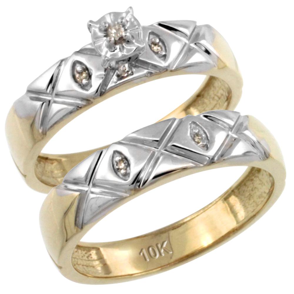 14k Gold 2-Pc Diamond Engagement Ring Set w/ 0.043 Carat Brilliant Cut Diamonds, 5/32 in. (4.5mm) wide