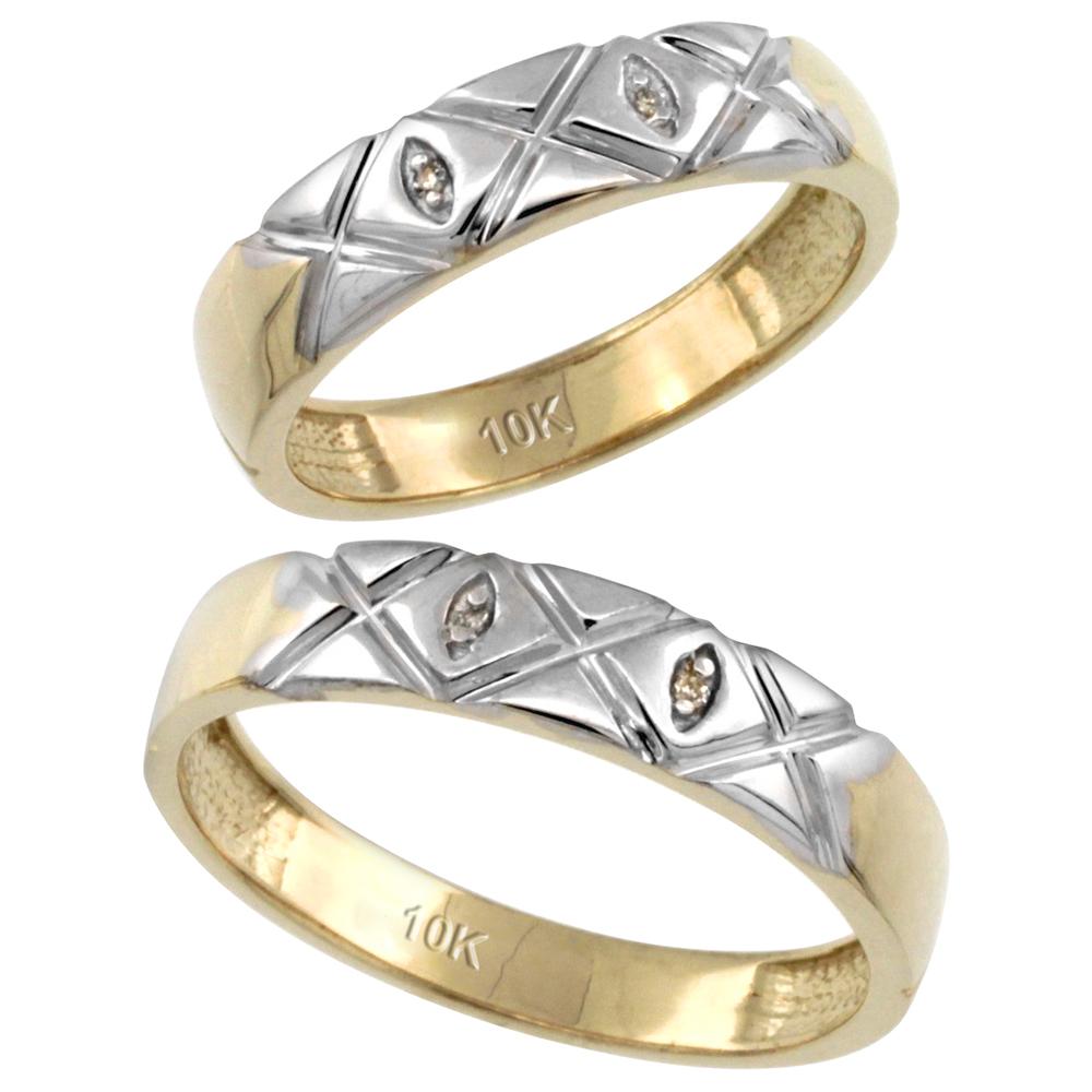 14k Gold 2-Pc His (5mm) & Hers (4.5mm) Diamond Wedding Ring Band Set w/ 0.026 Carat Brilliant Cut Diamonds (Ladies' Sizes 5 to 10; Men's Sizes 8 to 14)