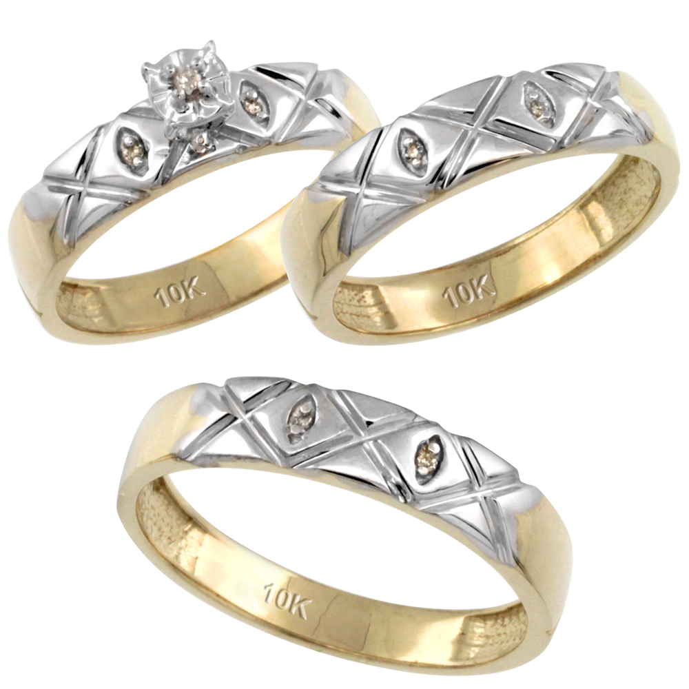 14k Gold 3-Pc. Trio His (5mm) & Hers (4.5mm) Diamond Wedding Ring Band Set, w/ 0.056 Carat Brilliant Cut Diamonds (Ladies' Sizes 5-10; Men's Sizes 8 to 14)