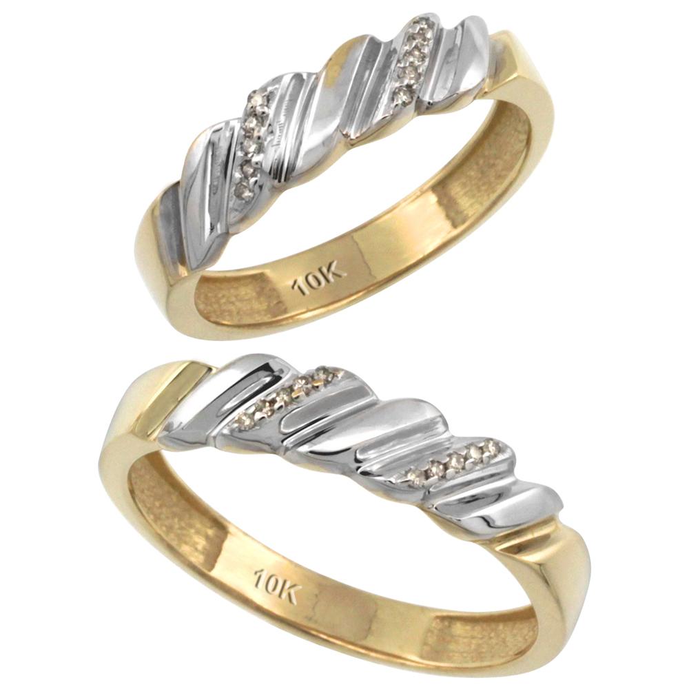 14k Gold 2-Pc His (5mm) & Hers (5mm) Diamond Wedding Ring Band Set w/ 0.126 Carat Brilliant Cut Diamonds (Ladies' Sizes 5 to 10; Men's Sizes 8 to 14)