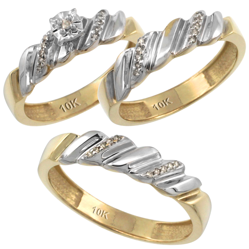 14k Gold 3-Pc. Trio His (5mm) & Hers (5mm) Diamond Wedding Ring Band Set, w/ 0.20 Carat Brilliant Cut Diamonds (Ladies' Sizes 5-10; Men's Sizes 8 to 14)
